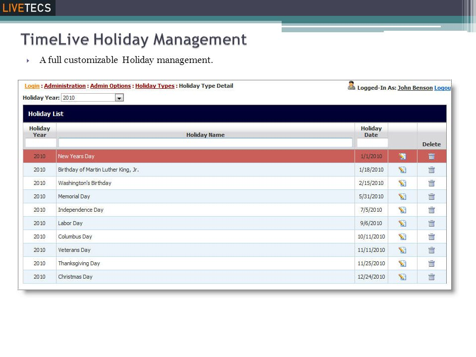  A full customizable Holiday management.