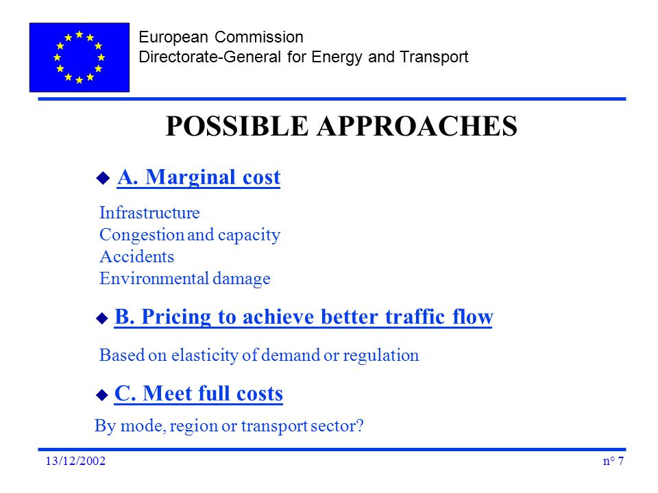 European Commission Directorate-General for Energy and Transport n° 713/12/2002 u A.