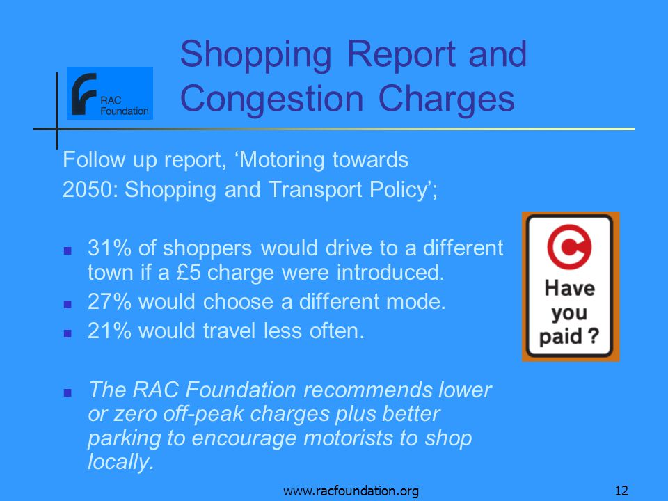 www.racfoundation.org12 Shopping Report and Congestion Charges Follow up report, 'Motoring towards 2050: Shopping and Transport Policy'; 31% of shoppers would drive to a different town if a £5 charge were introduced.