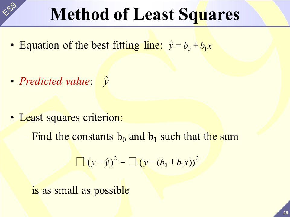 28 ES9 Method of Least Squares y ^ Predicted value: ()(())yybbx   2 01 2 y ^ Least squares criterion: –Find the constants b 0 and b 1 such that
