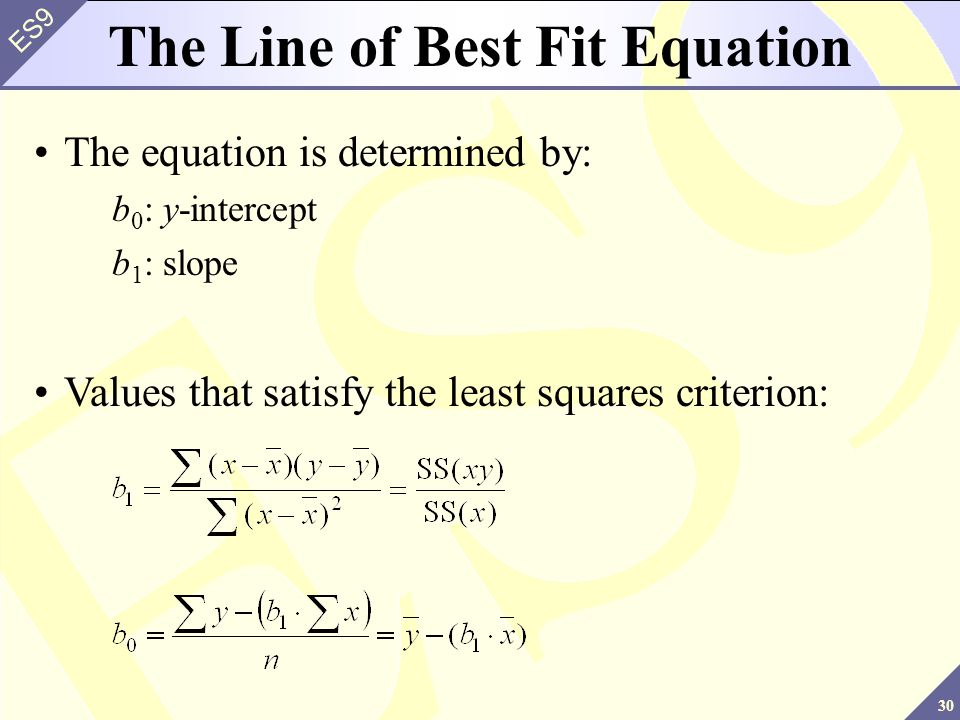 30 ES9 The Line of Best Fit Equation The equation is determined by: b 0 : y-intercept b 1 : slope Values that satisfy the least squares criterion: