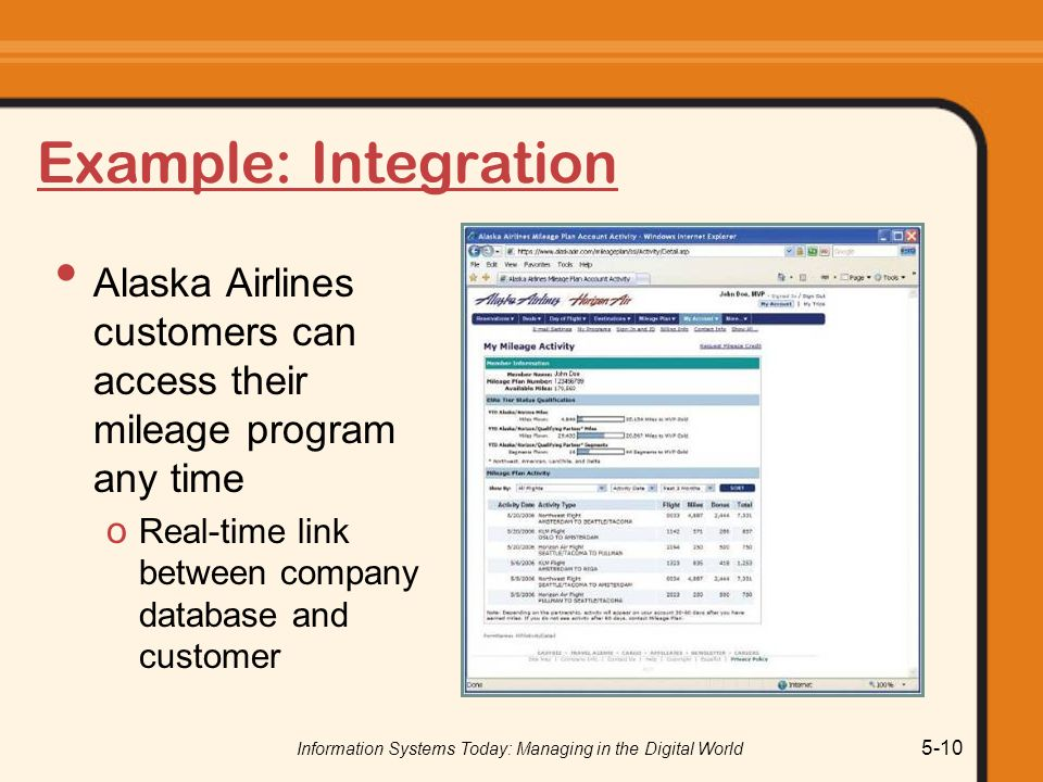 Information Systems Today: Managing in the Digital World 5-10 Example: Integration Alaska Airlines customers can access their mileage program any time o Real-time link between company database and customer