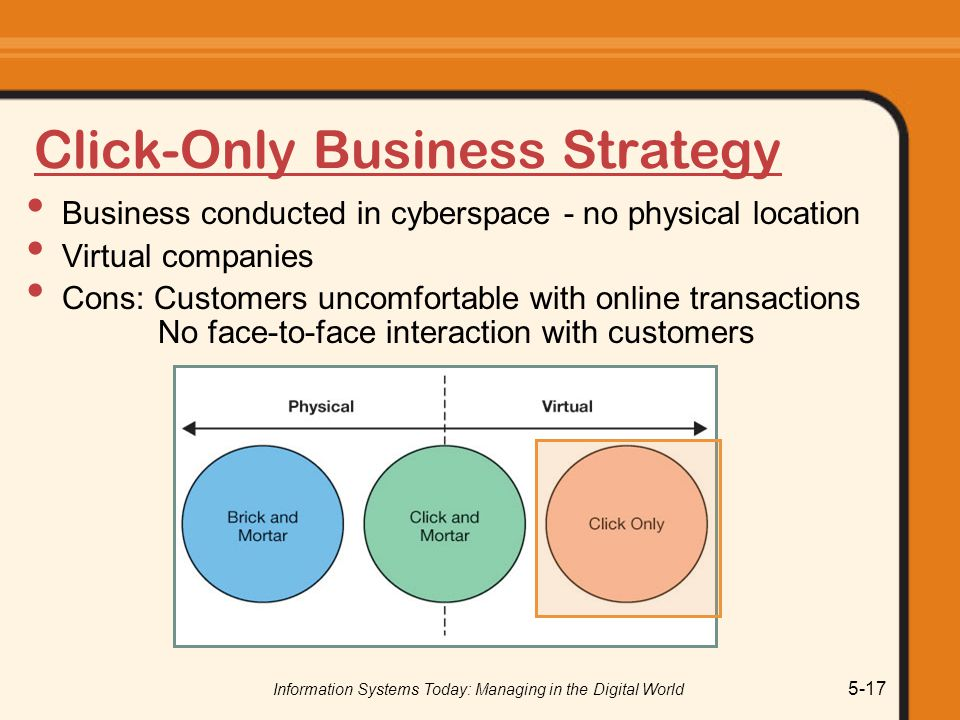 Information Systems Today: Managing in the Digital World 5-17 Click-Only Business Strategy Business conducted in cyberspace - no physical location Virtual companies Cons: Customers uncomfortable with online transactions No face-to-face interaction with customers