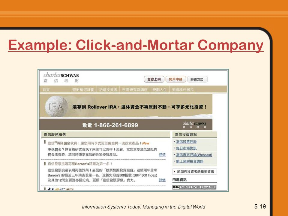 Information Systems Today: Managing in the Digital World 5-19 Example: Click-and-Mortar Company