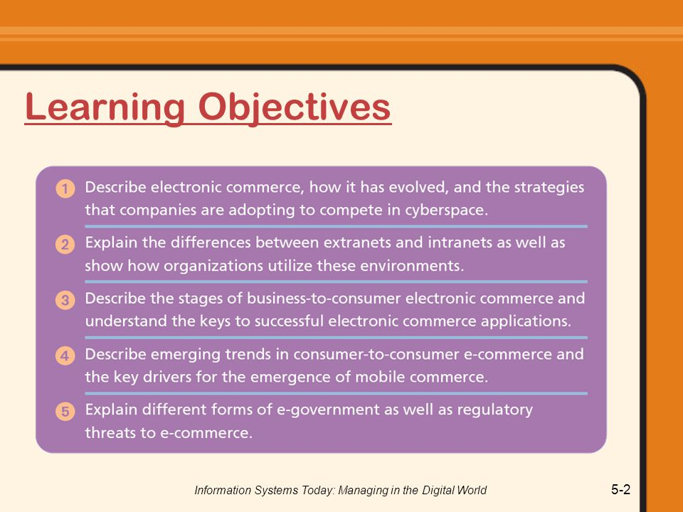 Information Systems Today: Managing in the Digital World 5-83 Government-to-Government Interactions between countries o Regulations.gov o Export.gov Interactions between different levels of government