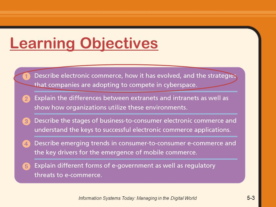 Information Systems Today: Managing in the Digital World 5-24 Electronic Data Interchange (EDI) Used prior to the introduction of the Internet EDI used for B2B systems Digital or electronic transmission of business documents between organizations o Value-added networks (VAN) o Dedicated circuit between companies