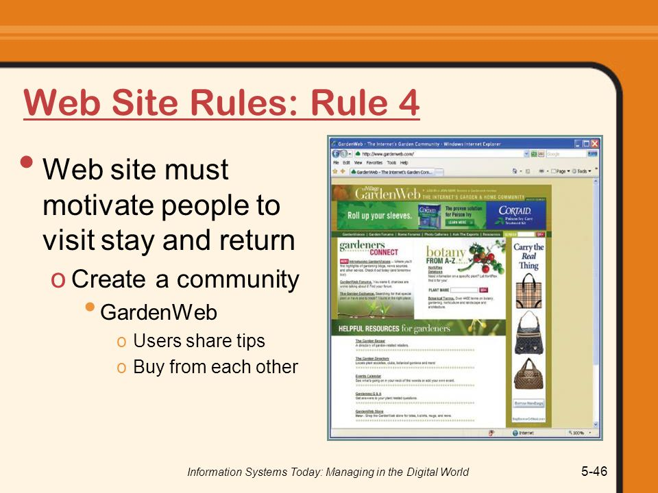Information Systems Today: Managing in the Digital World 5-46 Web Site Rules: Rule 4 Web site must motivate people to visit stay and return o Create a community GardenWeb oUsers share tips oBuy from each other