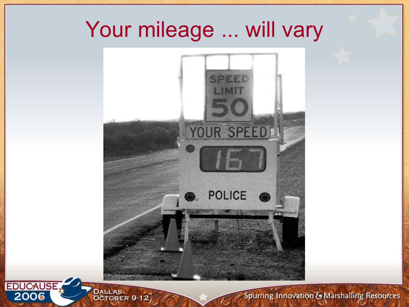 Your mileage... will vary