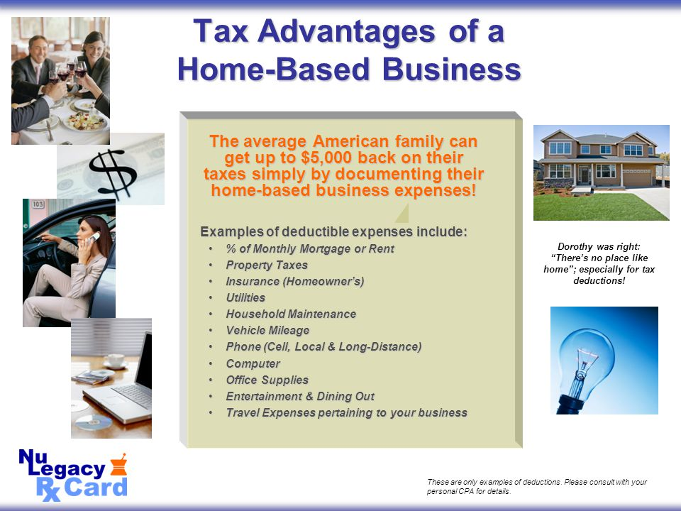 The average American family can get up to $5,000 back on their taxes simply by documenting their home-based business expenses.