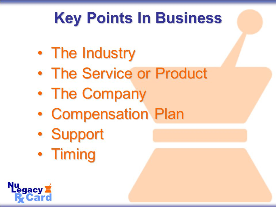 Key Points In Business The IndustryThe Industry The Service or ProductThe Service or Product The CompanyThe Company Compensation PlanCompensation Plan SupportSupport TimingTiming