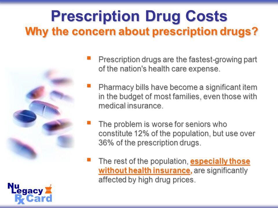 Prescription Drug Costs Why the concern about prescription drugs.