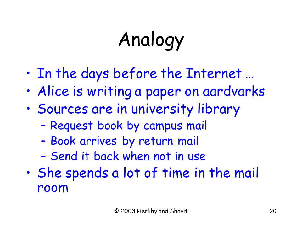 © 2003 Herlihy and Shavit20 Analogy In the days before the Internet … Alice is writing a paper on aardvarks Sources are in university library –Request book by campus mail –Book arrives by return mail –Send it back when not in use She spends a lot of time in the mail room