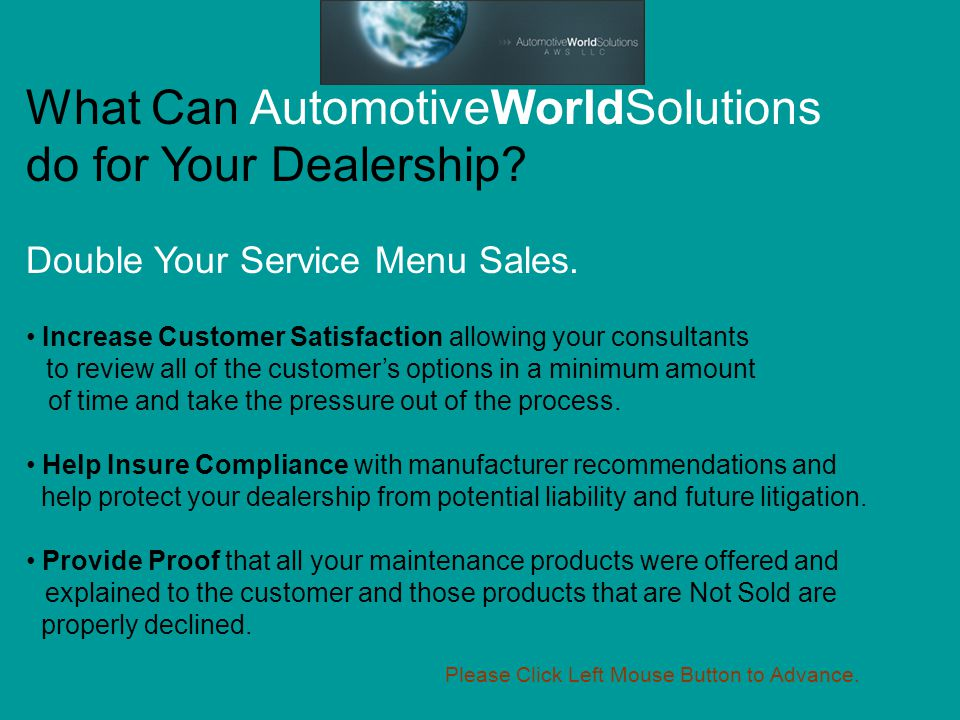 What Can AutomotiveWorldSolutions do for Your Dealership.