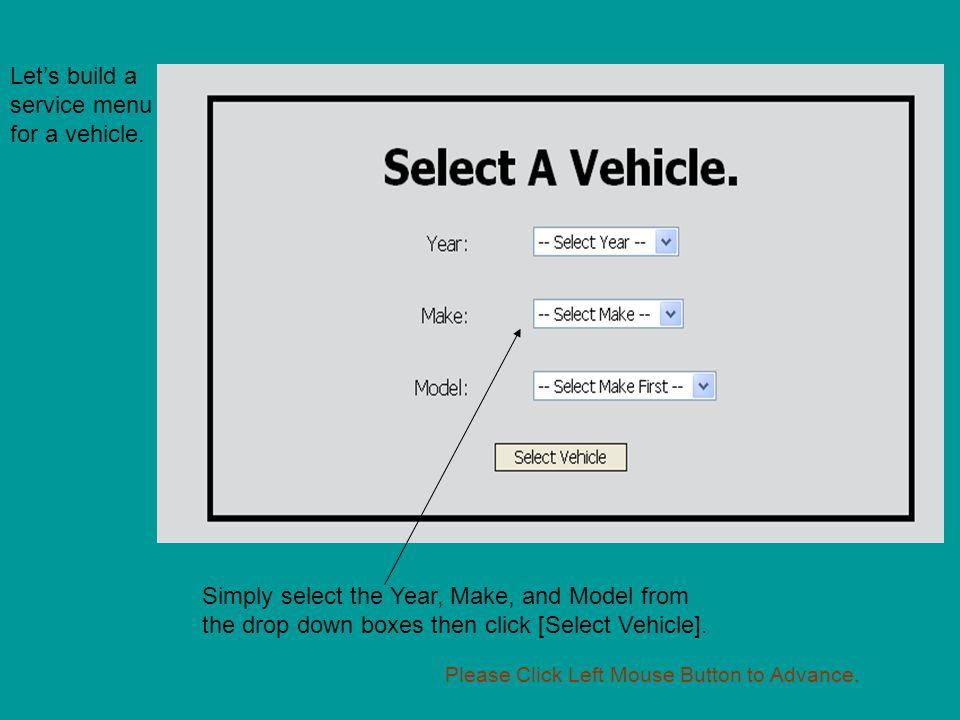 Let's build a service menu for a vehicle.