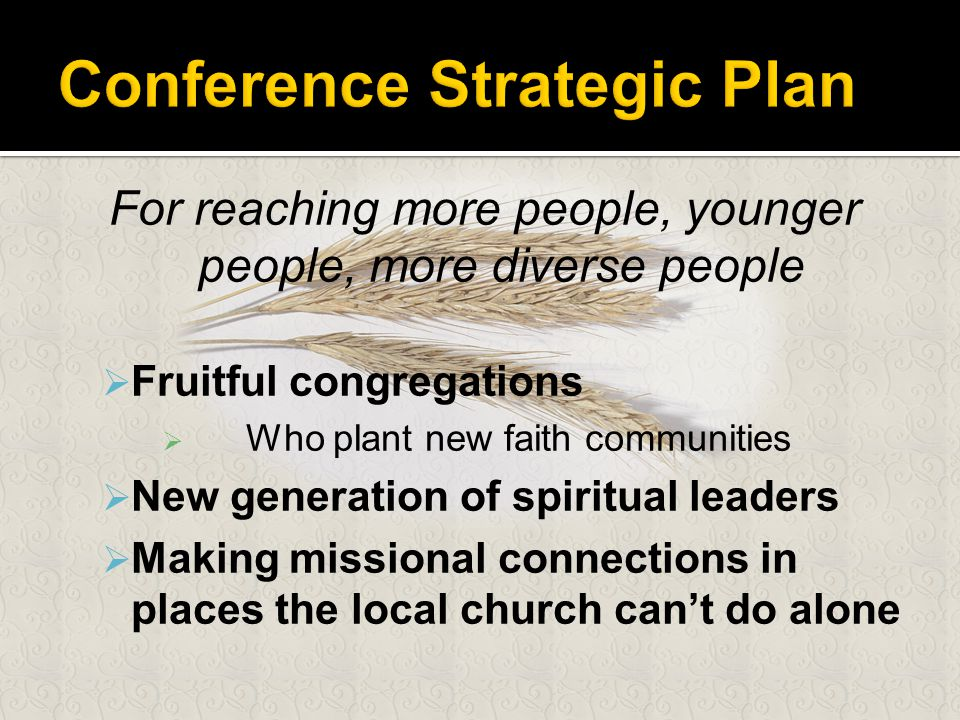For reaching more people, younger people, more diverse people  Fruitful congregations  Who plant new faith communities  New generation of spiritual leaders  Making missional connections in places the local church can't do alone