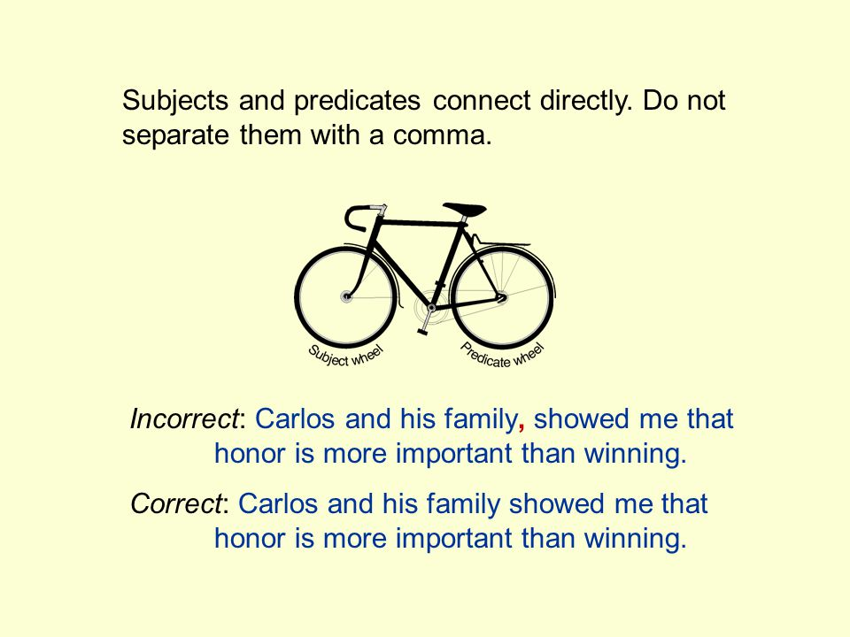 Subjects and predicates connect directly.Do not separate them with a comma.