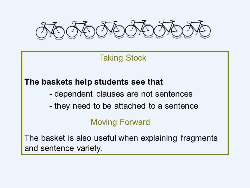 Taking Stock The baskets help students see that - dependent clauses are not sentences - they need to be attached to a sentence Moving Forward The basket is also useful when explaining fragments and sentence variety.