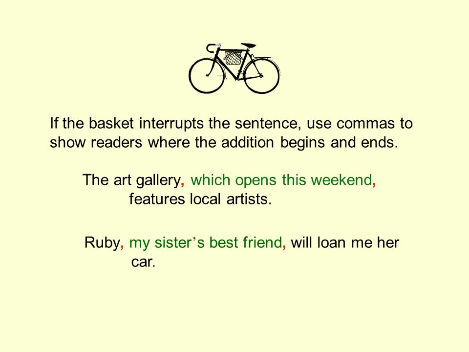 If the basket interrupts the sentence, use commas to show readers where the addition begins and ends.