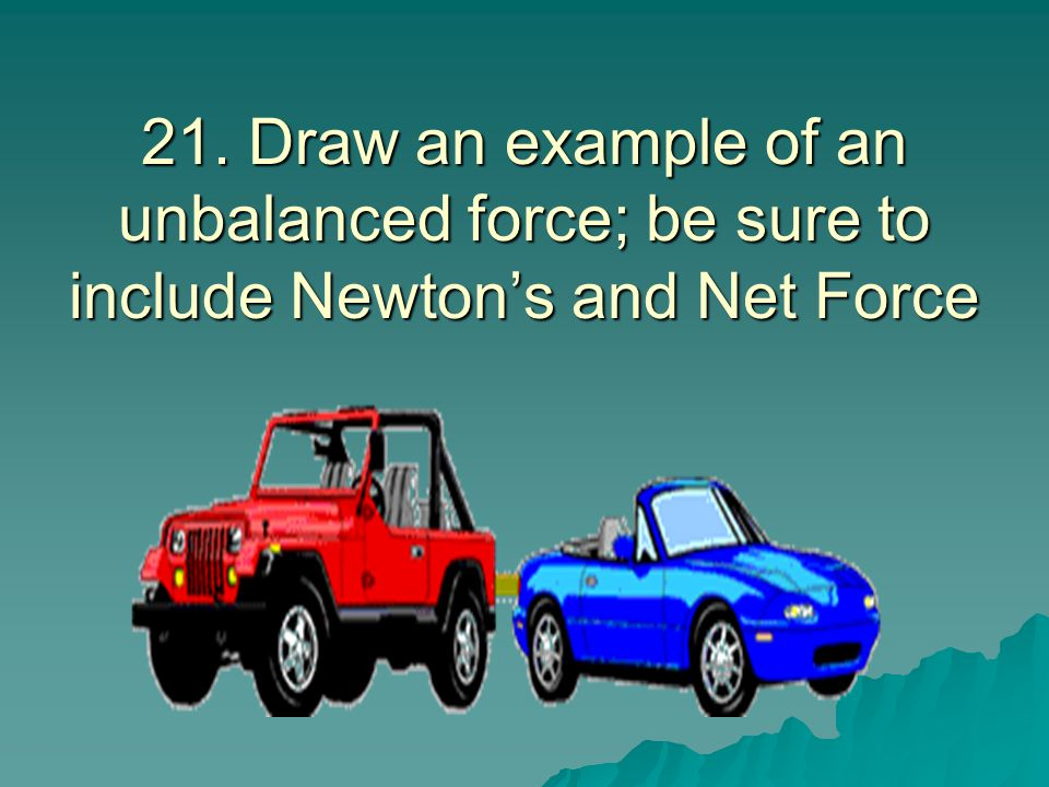 21. Draw an example of an unbalanced force; be sure to include Newton's and Net Force