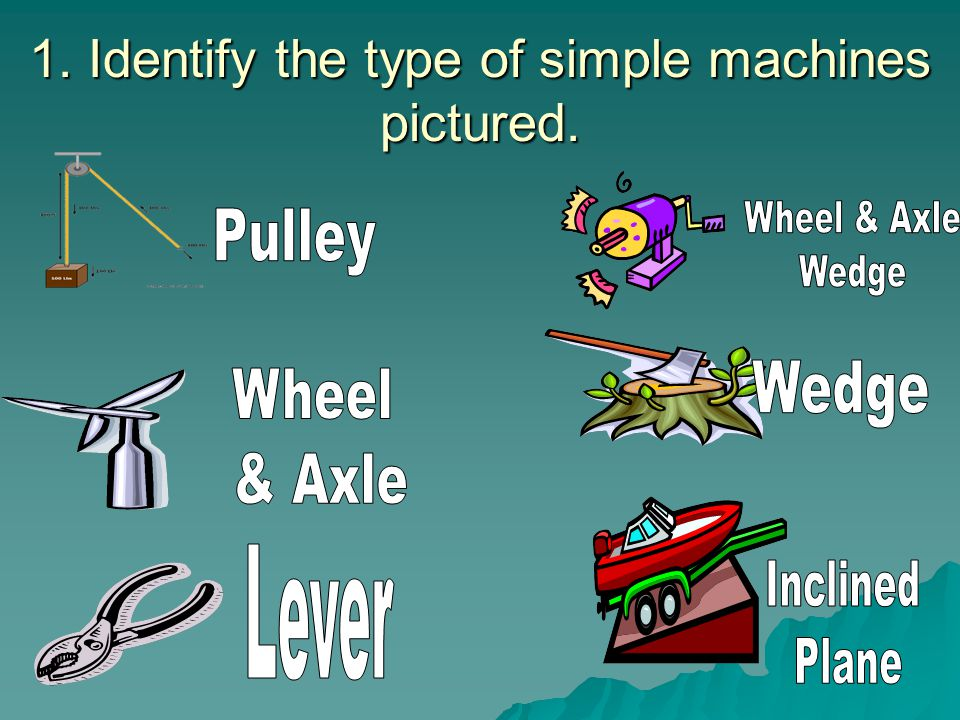 1. Identify the type of simple machines pictured.