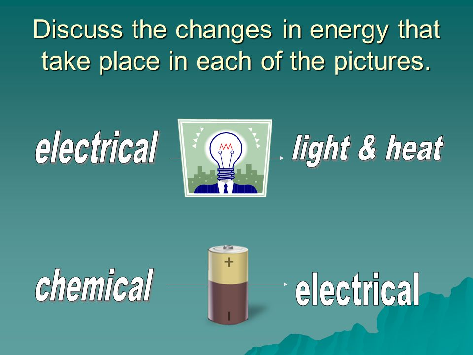 Discuss the changes in energy that take place in each of the pictures.