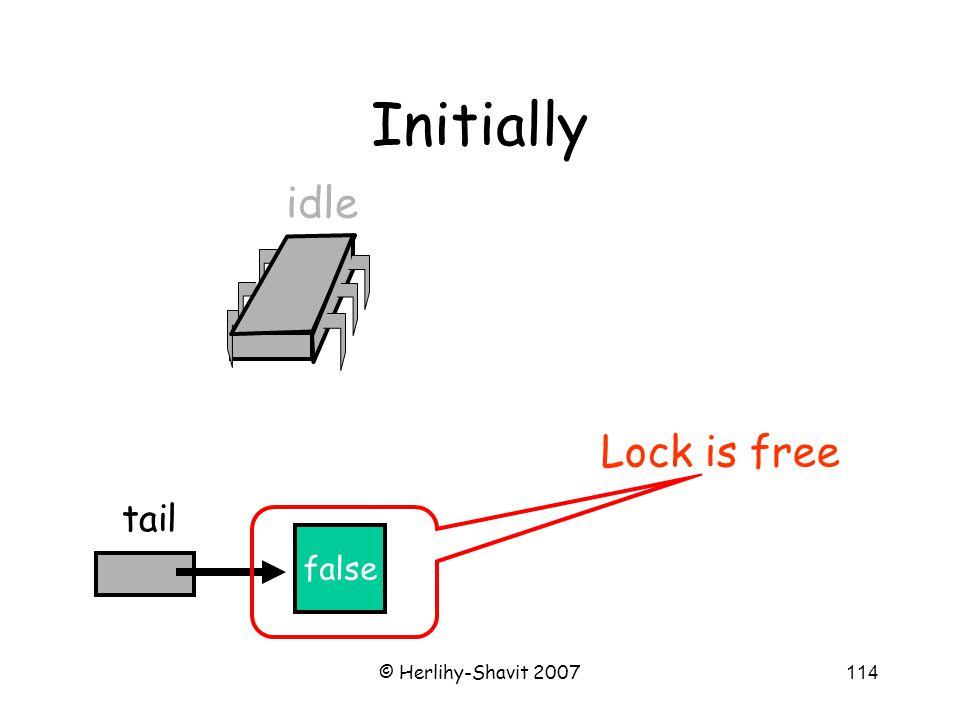 © Herlihy-Shavit 2007114 Initially false tail idle Lock is free
