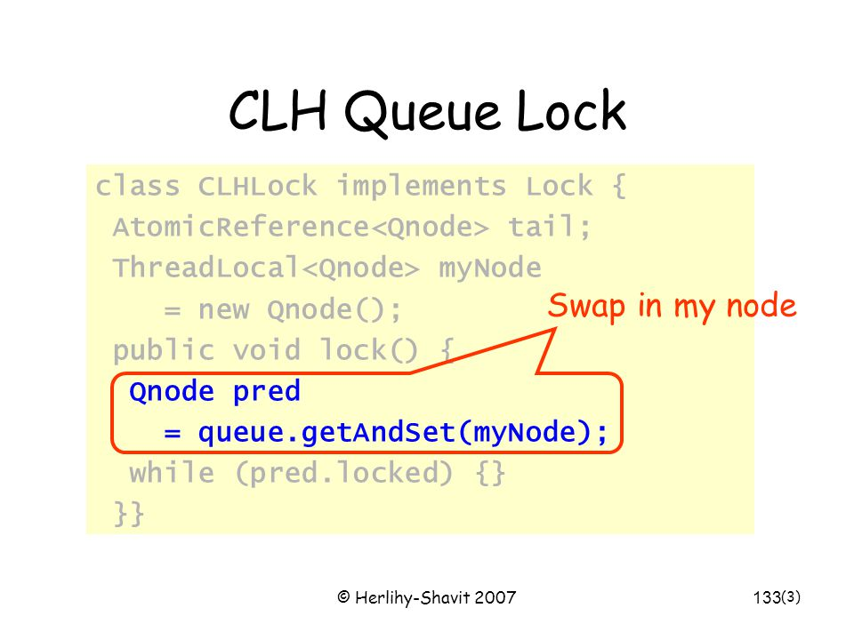 © Herlihy-Shavit 2007133 CLH Queue Lock class CLHLock implements Lock { AtomicReference tail; ThreadLocal myNode = new Qnode(); public void lock() { Qnode pred = queue.getAndSet(myNode); while (pred.locked) {} }} (3) Swap in my node