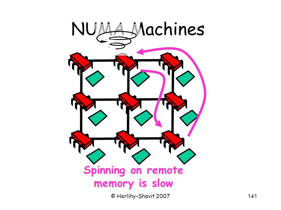 © Herlihy-Shavit 2007141 NUMA Machines Spinning on remote memory is slow