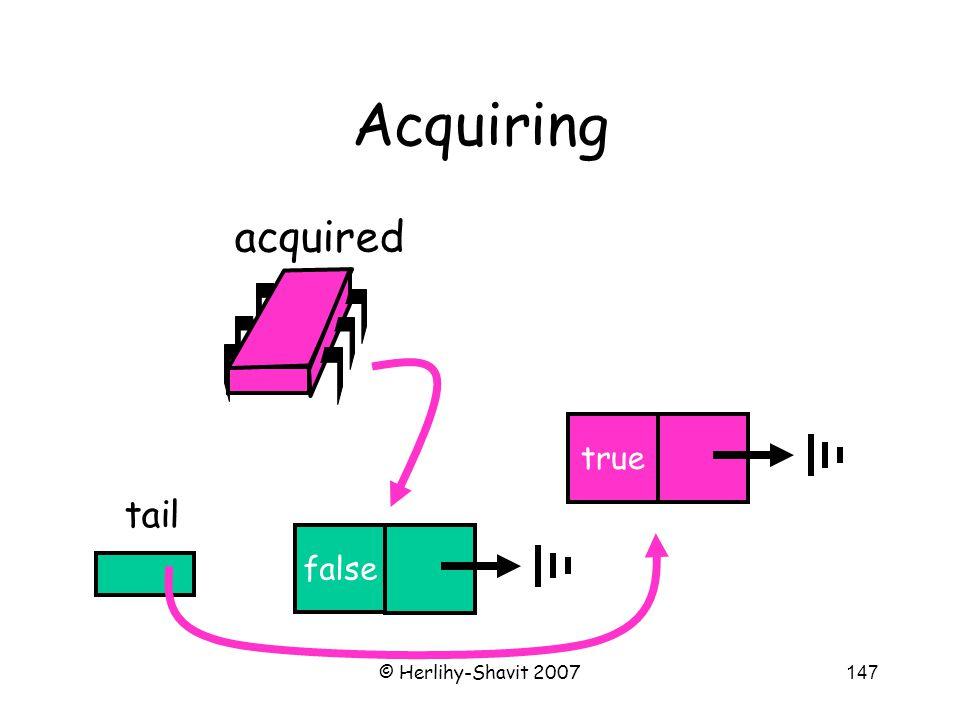© Herlihy-Shavit 2007147 Acquiring false tail false true acquired