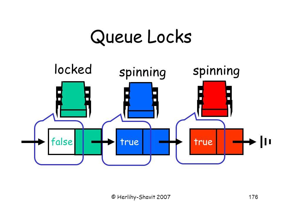 © Herlihy-Shavit 2007176 Queue Locks spinning true spinning true false locked