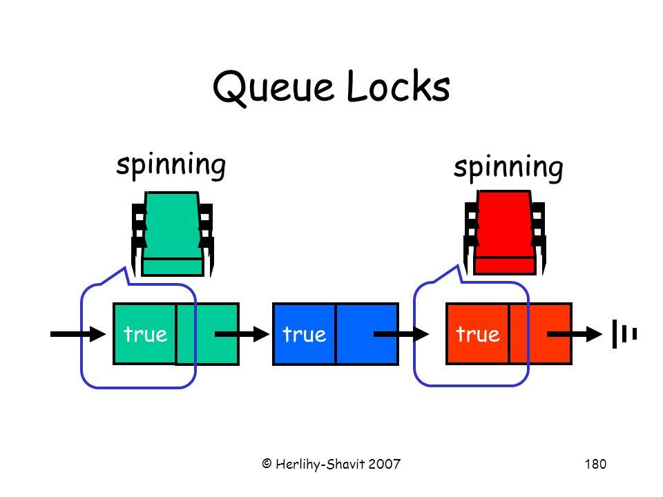 © Herlihy-Shavit 2007180 Queue Locks spinning true spinning