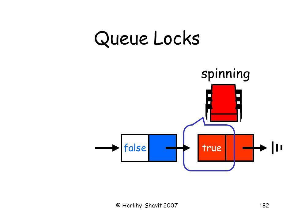 © Herlihy-Shavit 2007182 Queue Locks spinning true false