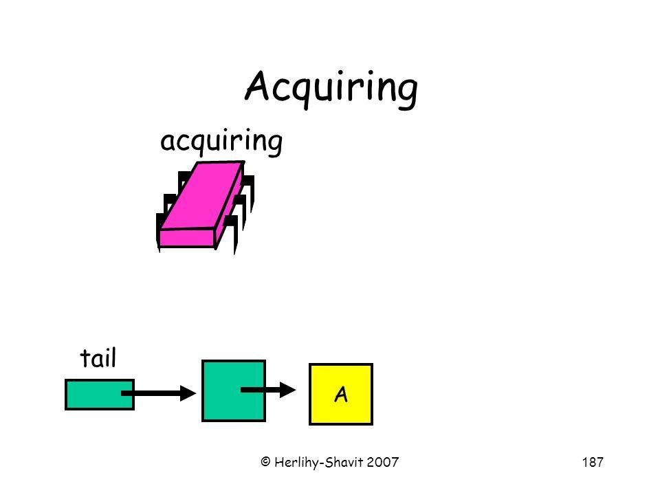 © Herlihy-Shavit 2007187 Acquiring tail acquiring A