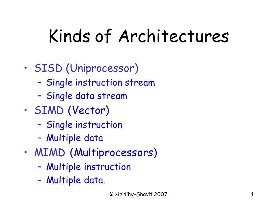 © Herlihy-Shavit 20074 Kinds of Architectures SISD (Uniprocessor) –Single instruction stream –Single data stream SIMD (Vector) –Single instruction –Multiple data MIMD (Multiprocessors) –Multiple instruction –Multiple data.