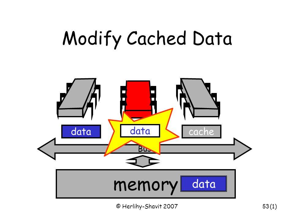 © Herlihy-Shavit 200753 Modify Cached Data Bus data memory cachedata (1)