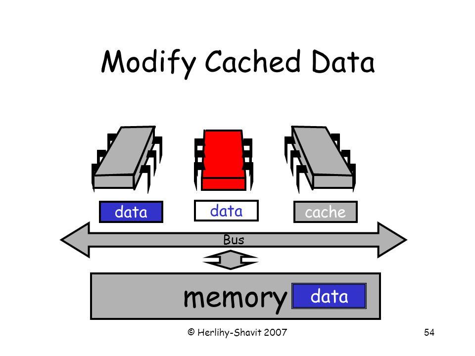 © Herlihy-Shavit 200754 memory Bus data Modify Cached Data cachedata