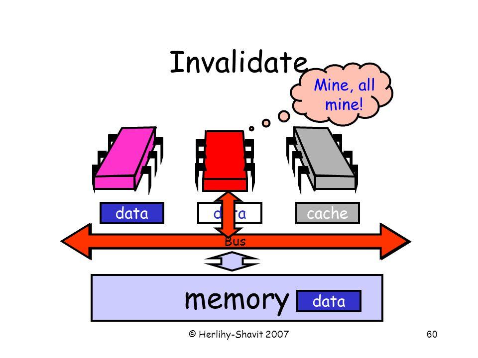 © Herlihy-Shavit 200760 Bus Invalidate Bus memory cachedata Mine, all mine!