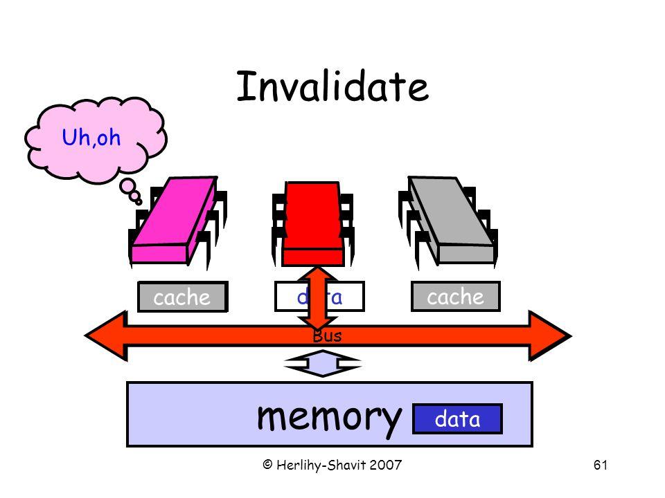 © Herlihy-Shavit 200761 Bus Invalidate Bus memory cachedata cache Uh,oh