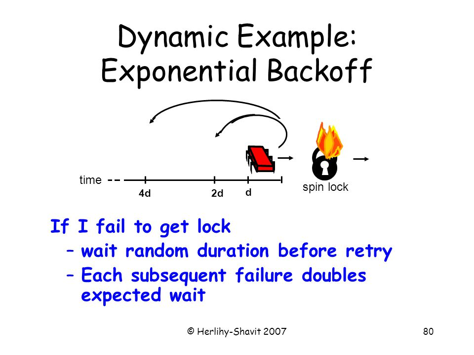 © Herlihy-Shavit 200780 Dynamic Example: Exponential Backoff time d 2d4d spin lock If I fail to get lock –wait random duration before retry –Each subsequent failure doubles expected wait