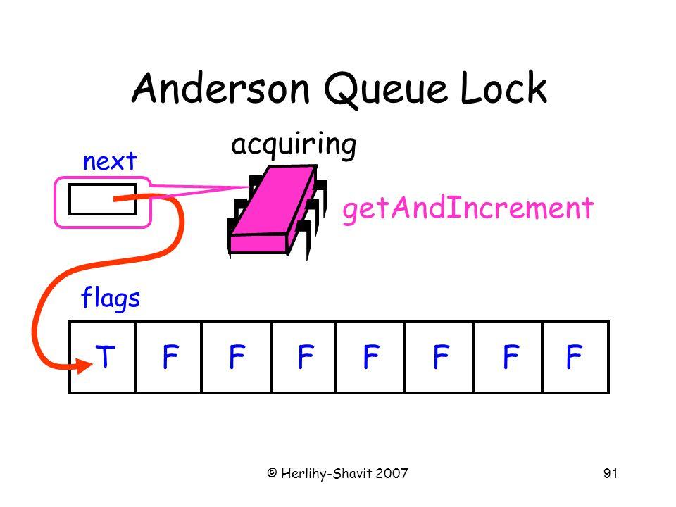 © Herlihy-Shavit 200791 Anderson Queue Lock flags next TFFFFFFF acquiring getAndIncrement