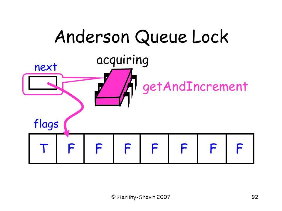 © Herlihy-Shavit 200792 Anderson Queue Lock flags next TFFFFFFF acquiring getAndIncrement