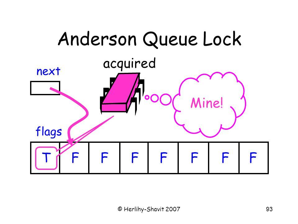 © Herlihy-Shavit 200793 Anderson Queue Lock flags next TFFFFFFF acquired Mine!