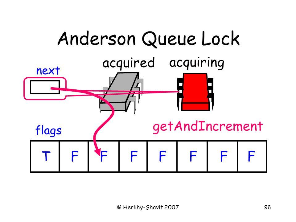 © Herlihy-Shavit 200796 Anderson Queue Lock flags next TFFFFFFF acquired acquiring getAndIncrement
