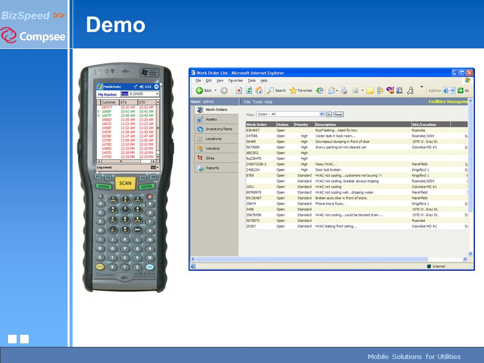 page 204/27/2015 BizSpeed Mobile Solutions – Copyright © 2005 BizSpeed >> Mobile Solutions for Utilities Demo