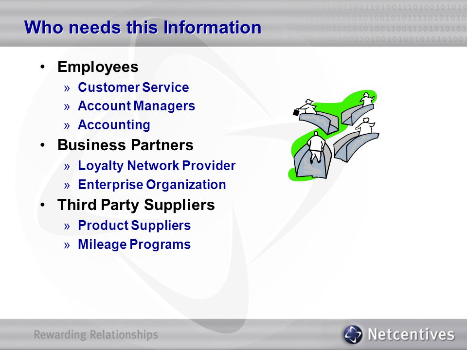 Who needs this Information Employees »Customer Service »Account Managers »Accounting Business Partners »Loyalty Network Provider »Enterprise Organizat