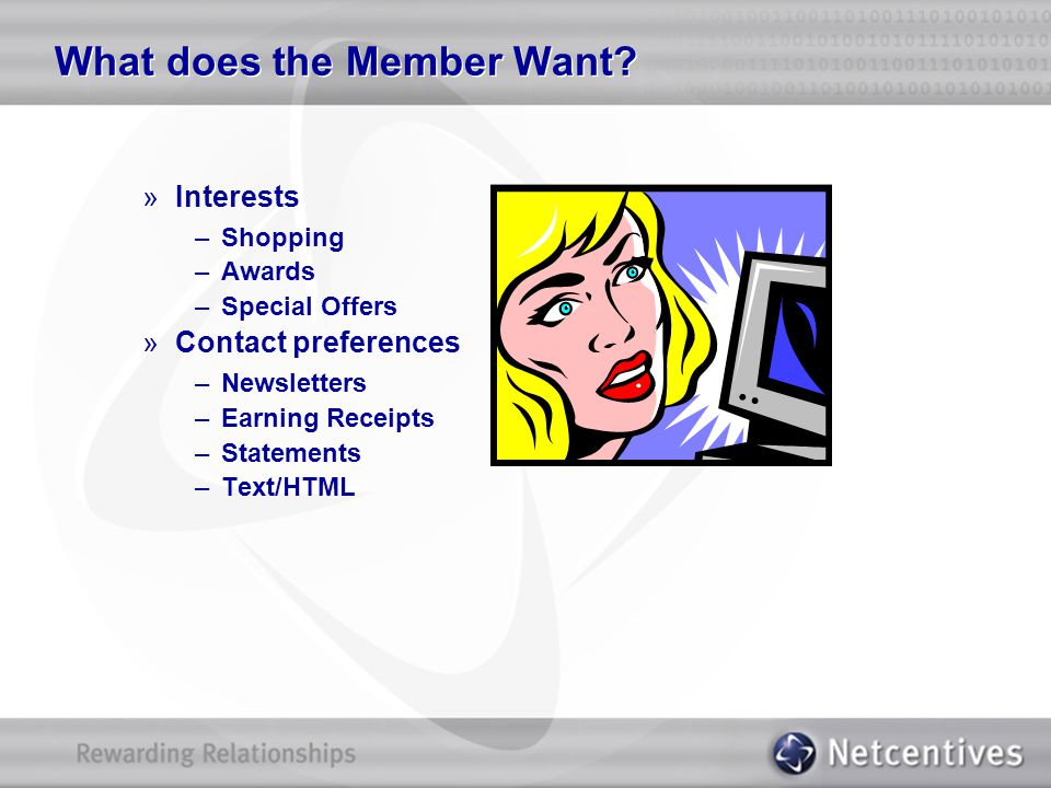 What does the Member Want? »Interests –Shopping –Awards –Special Offers »Contact preferences –Newsletters –Earning Receipts –Statements –Text/HTML