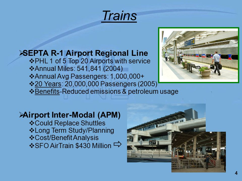 4 Trains  PHL 1 of 5 Top 20 Airports with service  Annual Miles: 541,841 (2004)  Annual Avg Passengers: 1,000,000+  20 Years: 20,000,000 Passengers (2005)  Benefits-Reduced emissions & petroleum usage  SEPTA R-1 Airport Regional Line  SFO AirTrain $430 Million   Airport Inter-Modal (APM)  Could Replace Shuttles  Long Term Study/Planning  Cost/Benefit Analysis