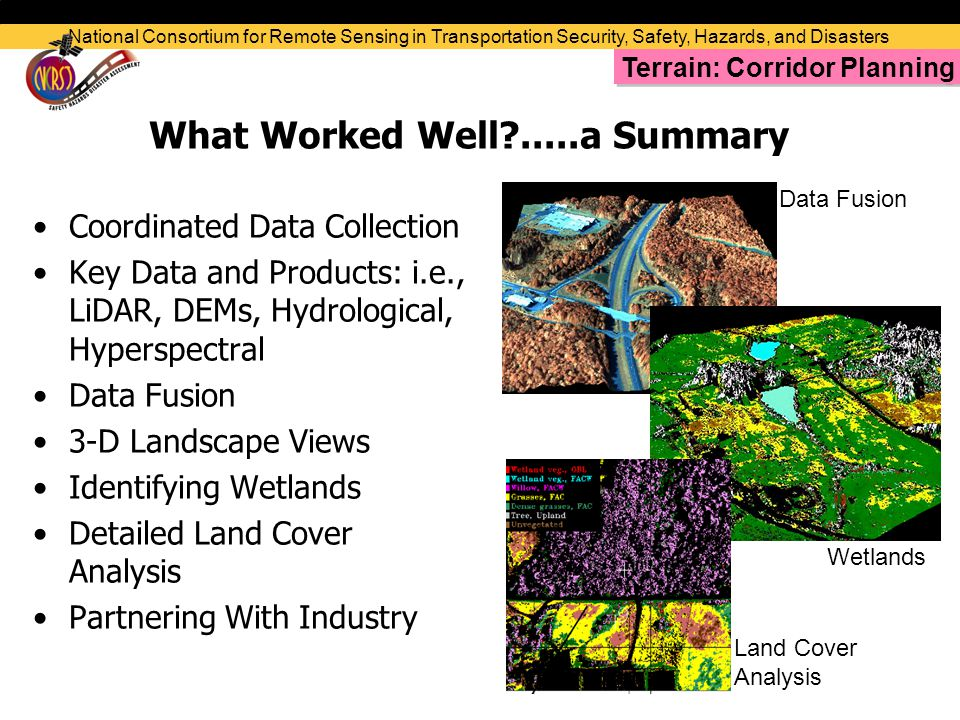 What Worked Well .....a Summary Coordinated Data Collection Key Data and Products: i.e., LiDAR, DEMs, Hydrological, Hyperspectral Data Fusion 3-D Landscape Views Identifying Wetlands Detailed Land Cover Analysis Partnering With Industry National Consortium for Remote Sensing in Transportation Security, Safety, Hazards, and Disasters Data Fusion Wetlands Land Cover Analysis Terrain: Corridor Planning