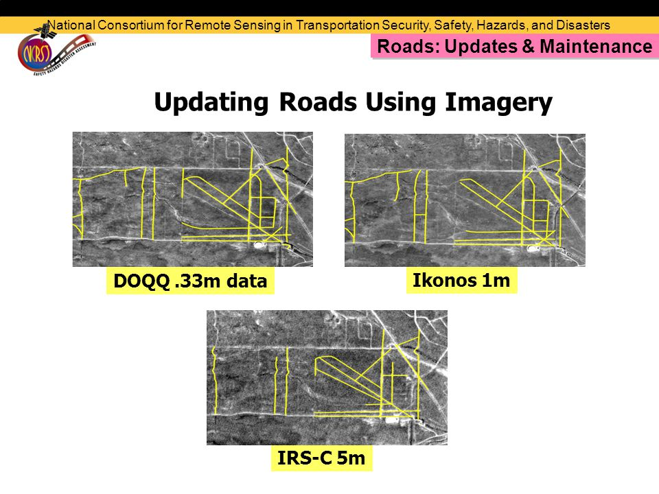 Ikonos 1m IRS-C 5m DOQQ.33m data Updating Roads Using Imagery National Consortium for Remote Sensing in Transportation Security, Safety, Hazards, and Disasters Roads: Updates & Maintenance
