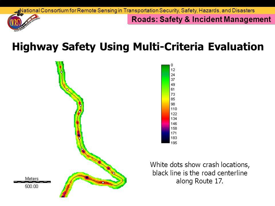 White dots show crash locations, black line is the road centerline along Route 17.